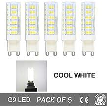 Bombillas LED G9 de 7W,Equivalentes a Lámparas halógenas de 50W, Blanca fría 6000K, 500lm,Ángulo de Haz de 360°,AC 220V,No Regulable,Pack de 5