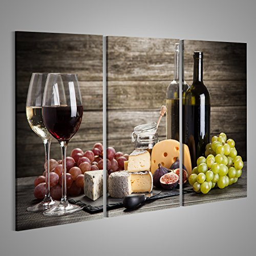 Bild Käse (Bild Bilder auf Leinwand Wein und Käse Stillleben Verschiedene Formate ! Direkt vom Hersteller ! Bilder ! Wandbild Poster Leinwandbilder ! EYD)