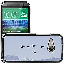 Grand Phone Cases Etui Housse Coque de Protection Cover Rigide pour // M00141681 Aves de Migración Fly Sky Montañas // HTC One Mini 2 / M8 MINI / (Not Fits M8)