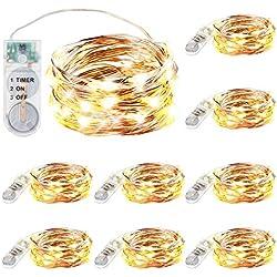 Innotree Aufgerüstet 9er-Pack Lichterketten mit Timer, Batterie Kupfer Drahtlichterkette 2M 20 LEDs Lichterketten Weihnachten Batteriebetrieben Wasserdichte Lichter Flasche Dekoration, Warmweiß