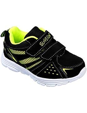 GIBRA® Kinder Sportschuhe, mit Klettverschluss, schwarz/neongrün, Gr. 25-36