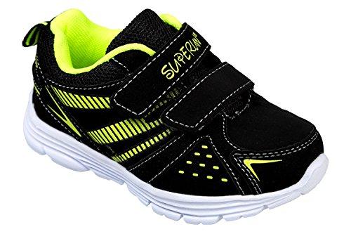 GIBRA® Kinder Sportschuhe, mit Klettverschluss, schwarz/neongrün, Gr. 25-36 Schwarz/Neongrün