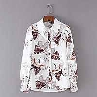 5ba5357ac0 Cnsdy Camisas para Mujer Prints Crescent Solapel Camisetas Single-Breasted  Tops Manga Larga