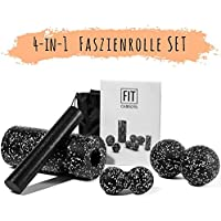 Starter-Set 4-tlg - Faszienrolle mit Innenrolle, Duoball 8 und 12 cm - Faszienset zur effektiven Faszien & Triggerpunkt Massage inkl. Startguide
