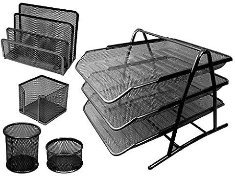 Seal Schreibtisch-Organizer-Set, mit Ablage, aus Metall, Drahtgitter, 5-teilig schwarz