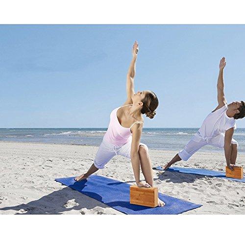 Tilemall Yoga Blocks Bricks Wooden Bamboo Yoga Block Support