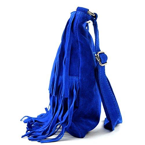 Borsa a mano borsa a tracolla shopping bag donna in vera pelle italiana T02 Königsblau