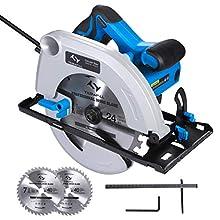 Sega Circolare Professionale 1500W Sega Circolare Elettrica Tilswall 6000 RPM, 2 Dischi 24T + 40T: 185mm, Taglio 64mm (90º), 48mm (45º), Motore in Rame Puro