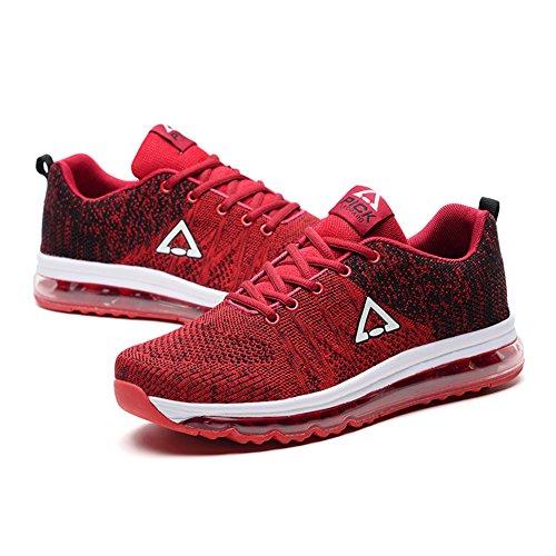 Fexkean Uomo Donna Scarpe da Sportive Ginnastica Corsa Para Running Waliking Respirabile Basse Sneakers Rosso