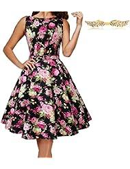 BYD Mujeres Vestidos Retro Elegante sin Manga Coloridos Impresión Floral Vintage Vestido Verano
