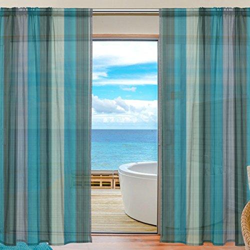yibaihe Fenster Sheer Vorhänge Panels Blau nahtlos Plaid Fenster Behandlung Set Voile Drapes Tüll Vorhänge 213cm lang für Wohnzimmer Schlafzimmer Girl 's Room, 2Platten - Küche Plaid Vorhänge