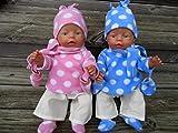 Puppenkleidung handmade Gr. 40-45 cm für z.B. Baby Born Krümel little Chou Winterset Kuschelfleece Punkte 6-tlg. incl. Schal + Handschuhe +Schuhe
