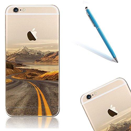 """iPhone 6s Handytasche, für iPhone 6 CLTPY Ultradünn Durchsichtig Original TPU Schale Etui, Kreativ Landschaft Muster Full Body Cover Case für 4.7"""" Apple iPhone 6/6s + 1 x Freier Stylus - Meer Berge"""