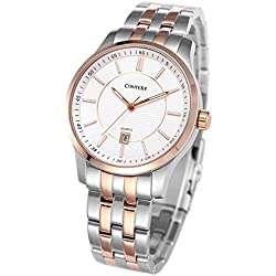 Comtex Men's Wrist Watches Rose Gold Tone White Dial Analog with Stainless Steel Dress Watch