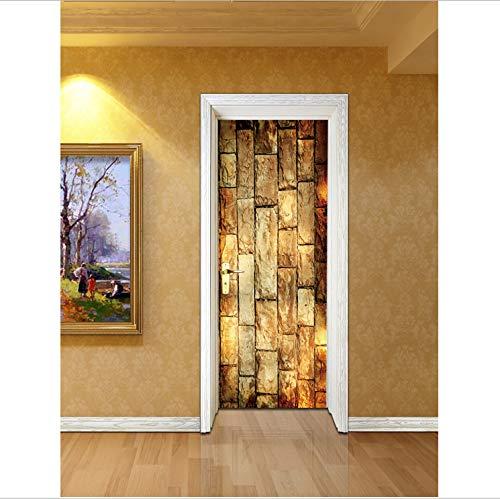 Maize store effetto vintage giallo pietra mattoni 3d impermeabile porta adesivo adesivo decorativo pvc pellicola autoadesiva porta