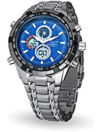 Montre sport métal Anthony James Sports Master avec affichage analogique/digital 3 fonctions, chronomètre et tachymètre ; étanchéité 30 mètres (bleu nuit)