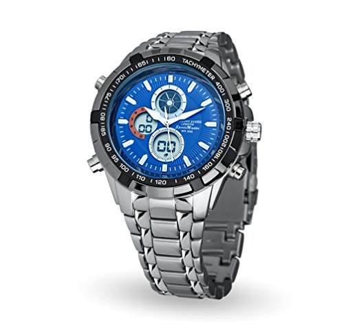 Anthony-James-Sports-Master-Metal-Wrist-Watch-with-3-Function-AnalogDigital-Display-Stopwatch-and-Tachymeter-Water-Resistant-up-to-30-Meters-Midnight-Blue