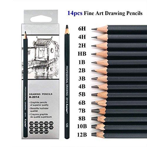Skizzieren Bleistifte–14Stück Zeichnen Bleistifte, 6h, 4h, 2H, HB, B, 2B, 3B, 4B, 5B, 6B, 7B, 8B, 10B, 12B