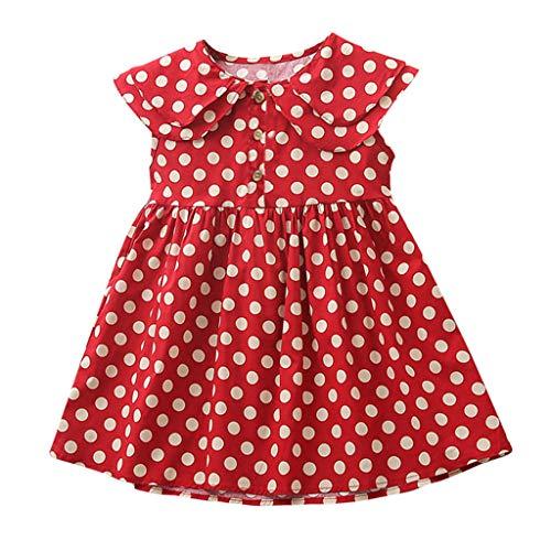 Livoral Baby Madchen Strampler Ärmelloses, gekräuseltes Prinzessinkleid mit Punktmuster für Kleinkinder(Rot,120)