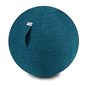 VLUV STOV Stoff-Sitzball, ergonomisches Sitzmöbel für Kinder und Erwachsene, Farbe: Anthrazit (dunkelgrau), Ø 50cm – 55cm, hochwertiger Möbelbezugsstoff, robust und formstabil, mit Tragegriff