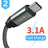 USB C Kabel auf USB 3.1 A, [2 Stück] 2m/6,6ft Aluminum USB Typ C Schnell Ladekabel, Nylon USB 2.0 Kabel für Samsung Galaxy S9 S8 Plus,Note8 A5 A3 2017, LG G5 G6, Huawei P9 P10, Sony Xperia XZ Xa1 Z5, HTC 10/U11 by DIVI (USB 2.0, Grau)
