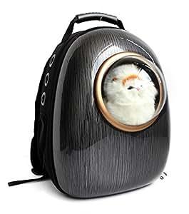 Astronauta Capsula Pet Zaino Airline Approved trasparente borsa portatile traspirante cane elemento portante del gatto per la corsa esterna Camminare Escursionismo , black