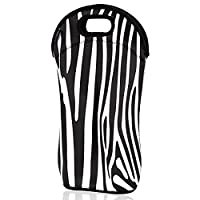 iColor insulated Wine bag tote Holder Covers for Champagne,Wine,Beer Bottles,Beverages,Containers,Soft Drinks,Sodas,Sports Water Bottles,Baby Bottles,Make of thick Neoprene,Zipper Closure,Machine-Washable (zebra-stripe)(WineBag-02)