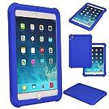TECHGEAR Schutzhülle für Apple iPad Mini 1 2 3, [Kids Friendly] Leichtes Koffer Silikon Soft Shell Anti-Rutsch-Shockproof verstärkte Ecken + Displayschutzfolie. - Blau