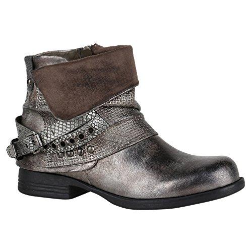 Damen Stiefeletten Biker Boots Nieten Schnallen Leder-Optik Schuhe 148771 Grau Metallic Glitzer 40 Flandell
