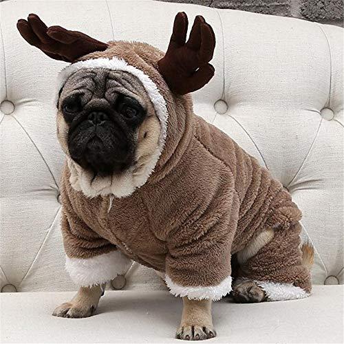 YUNSW Warme Fleece Haustier Hund Kleidung Für Kleine Hunde Weihnachten Hund Kostüm Overall Welpen Mantel Jacke Chihuahua Mops Kleidung Braun XL