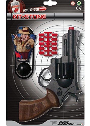 (Edison Giocattoli Champions-Line Kit Stone: Spielzeugpistole in Revolver-Optik, für Cowboy- oder Polizeikostüm mit Gummi-Munition, 22 cm, schwarz/braun (E0461/32))