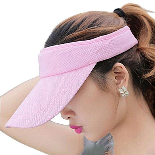 Fasbys Summer Outdoor Sports Beathable Long Brim Empty Top Baseball Sun Cap Hat Visor (Pink)
