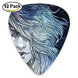 Purple Hair Girl Face Galaxy Blue Stars Guitar Pick 12pack