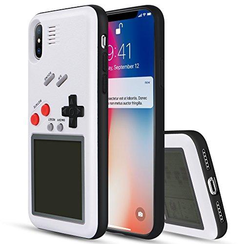 YOEDGE Game Boy Funda para iPhone X, Cárcasa Antigolpes Game Console Cover con Graciosas Tetris Games Sistema Incorporado Bumper Case para Apple iPhone X/10 Smartphone (Blanco)