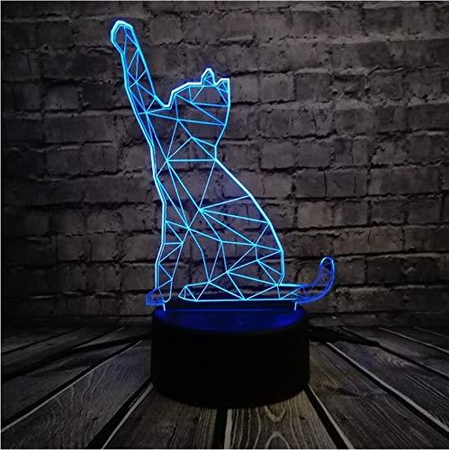 Nachtlicht Heißer Verkauf 3D Tier Schwarze Katze Led Usb Lampe Aktive Stimmung Atmosphäre Nachtlicht Rgb Dimmer Wohnkultur Kinder Spielzeug Tisch Schreibtisch