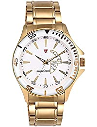 Swiss Grand SG1182 Solid Gold Coloured With Golden Stainless Steel Strap Quartz Watch For Men