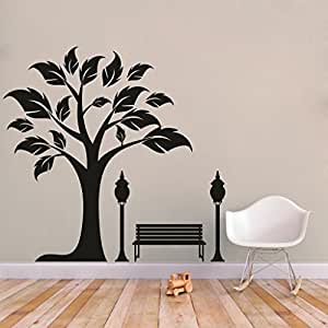 Decor Kafe Home Decor Tree Bench Wall Sticker, Wall Sticker for Bedroom, Wall Art, Wall Poster (PVC Vinyl, 58 X 157 cm)