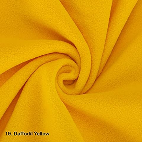 Polar Fleece Fat Squares Fabric, Quality Material, International Approved Test Report for Anti Pill Finish. 21 Colours, 50 x 75cms Pieces. Beautiful Plush Pile for garments, home décor & crafts. - 19. Daffodil Yellow - Fat Square