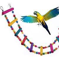 Jaula de escalera para pájaros colorido puente de madera balancín Perch Parrot Budgie Parakeet Cockatiel Macaw africano gris Cockatoo