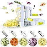 XINFANGXIU Spiralschneider mit 5 Klingen Gemüsehobel, Spiralschneider für Gemüse, Spiralschneider mit Saugnapf für Zucchini, Nudeln, Kartoffeln, Pasta, Spaghetti-Maker