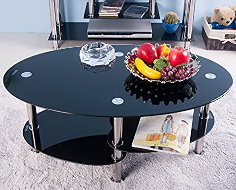 Life Carver Cara Oval Black Glass Coffee Table With