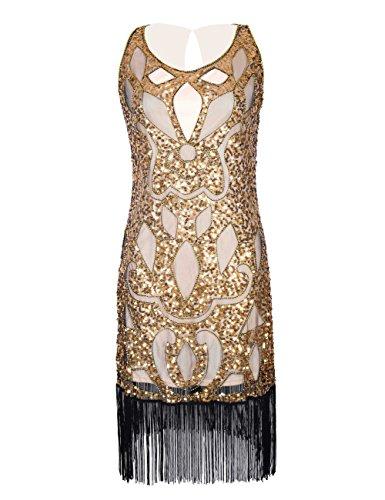 Kayamiya Damen 1920er Pailetten Perlen Verschönerung Crown Muster Gatsby Flapper Kleid L (Kostüme Gold Crown)