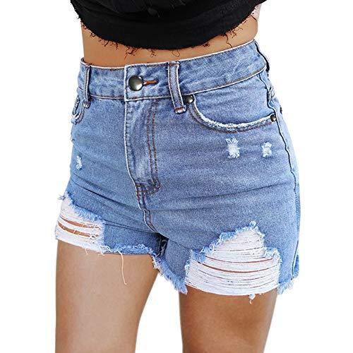 YJiaJu Neue Frauen Hohe Taille Loch Raw Edge Blue Denim Shorts Weibliche Sommer Lose Hot Pants Sexy Shorts Heiße Junge Mädchen Frauen (Color : Blue, Size : M) (Raw-edge-denim-shorts)