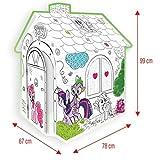 Mochtoys 10799 Malhaus Pony, Spielhaus, Kartonhaus mit Türe 78 x 67 x 99 cm