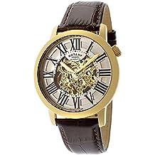 c1992cec786 Rotary Reloj Esqueleto para Hombre de Automático con Correa en Cuero  GLE000013 21S