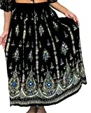 Splendida maxi gonna da donna, stile indiano, boho chic, hippie, con applicazioni di paillettes, prendisole per l' estate, taglie M L Black