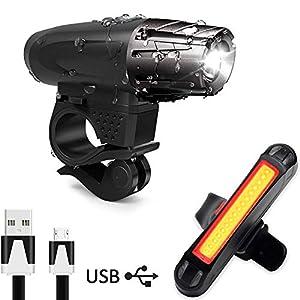 51L2u9kn2sL. SS300 AMANKA Luce Bici, Luci LED per Bicicletta Ricaricabili USB Impermeabile, Super Luminoso Luce Bici Anteriore e Posteriore…