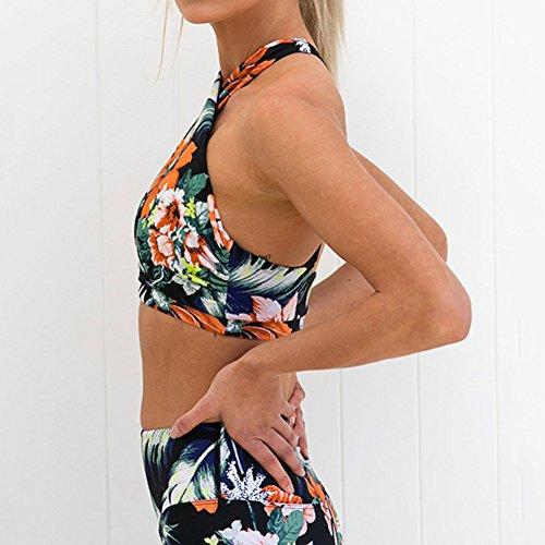 Combinaison de sport de survêtement des femmes, Hibote Sportswear Fashion Motif Floral Fitness Costumes 2 Pcs / Set pour le sport en cours dexécution Yoga Gymnastique Fleurs