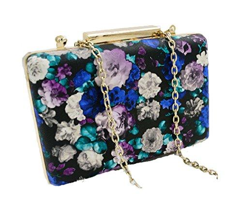 Womens Clutch Bag PU-Haut Retro-Druck Schultertasche Schräge Kreuz Tasche Abendtaschen Mini-Handtasche,Retroprintingcolor