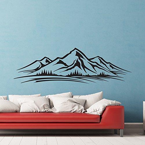 Etiqueta engomada del arte del horizonte de montañas Árboles pared del vinilo de la sala de estar Niños Mural Gráficos letras